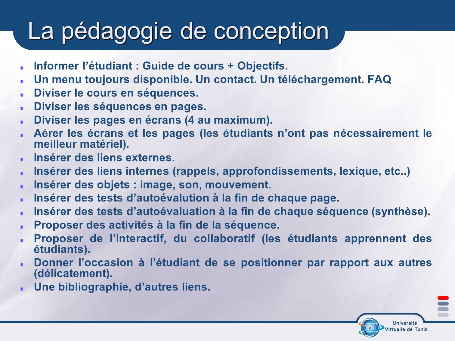 Université Virtuelle de Tunis La pédagogie de conception Informer létudiant : Guide de cours + Objectifs. Un menu toujours disponible. Un contact. Un
