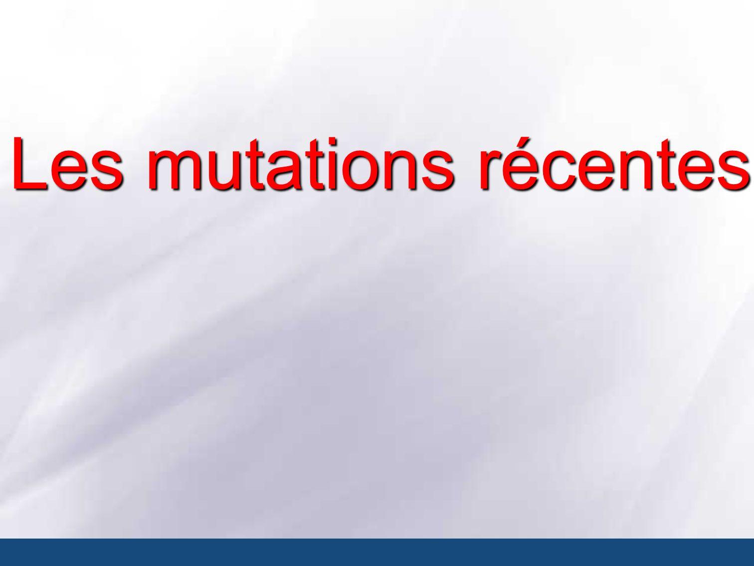Les mutations récentes