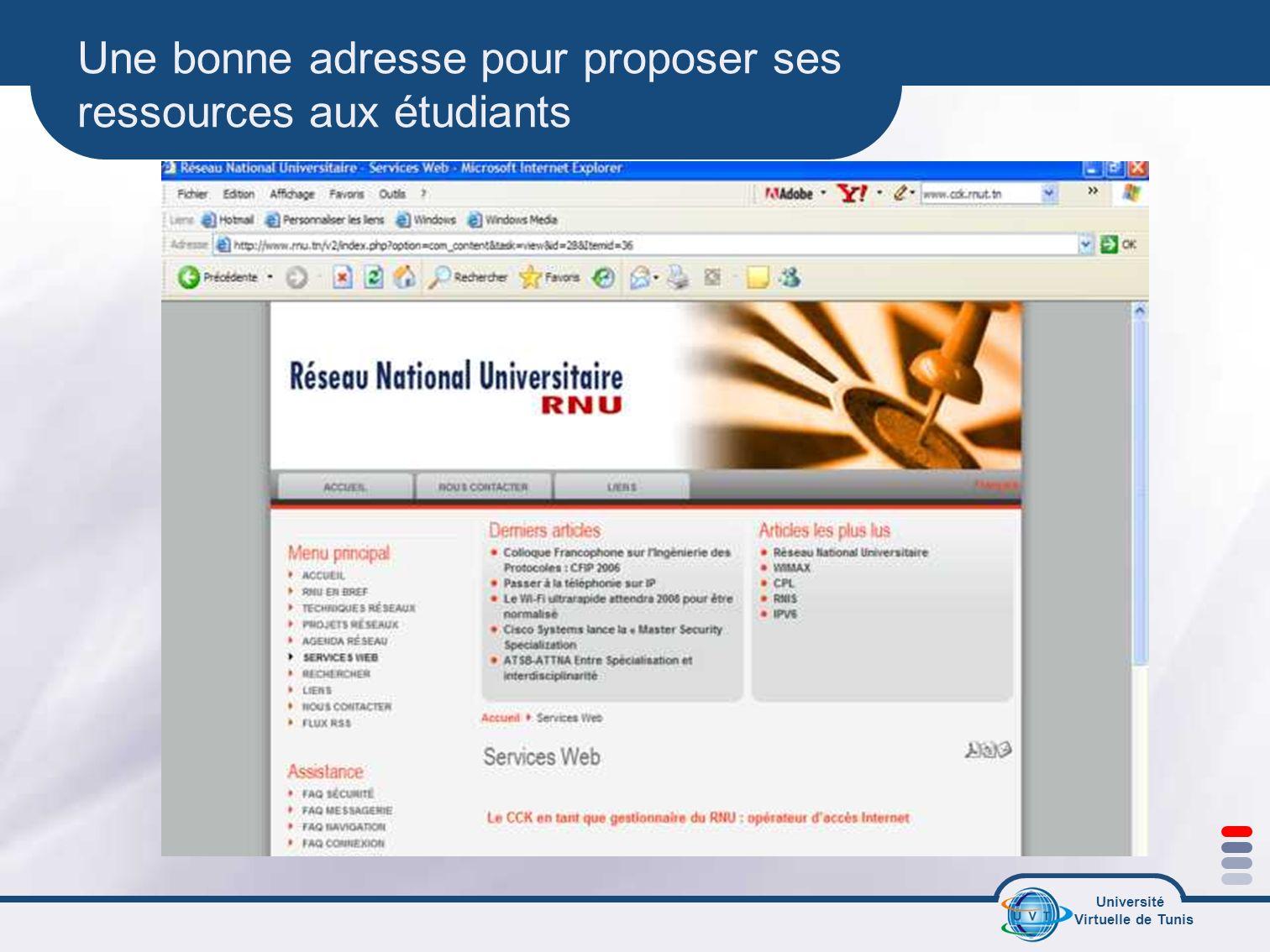 Université Virtuelle de Tunis Une bonne adresse pour proposer ses ressources aux étudiants