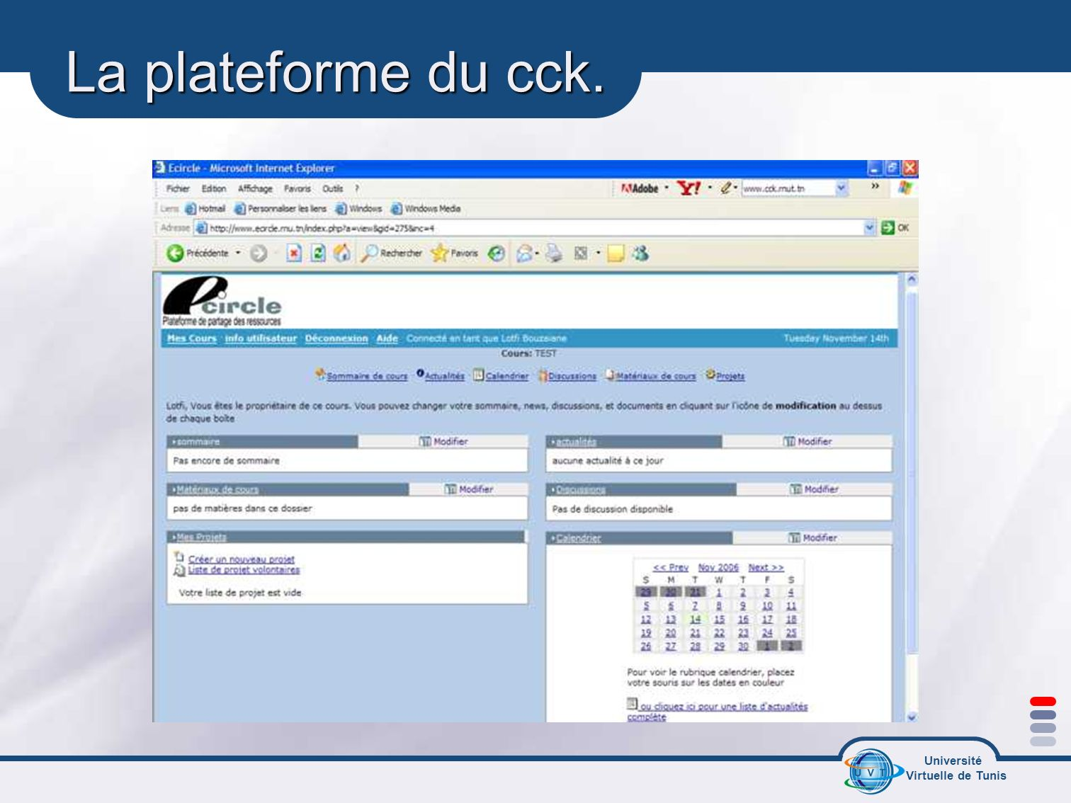 Université Virtuelle de Tunis La plateforme du cck.