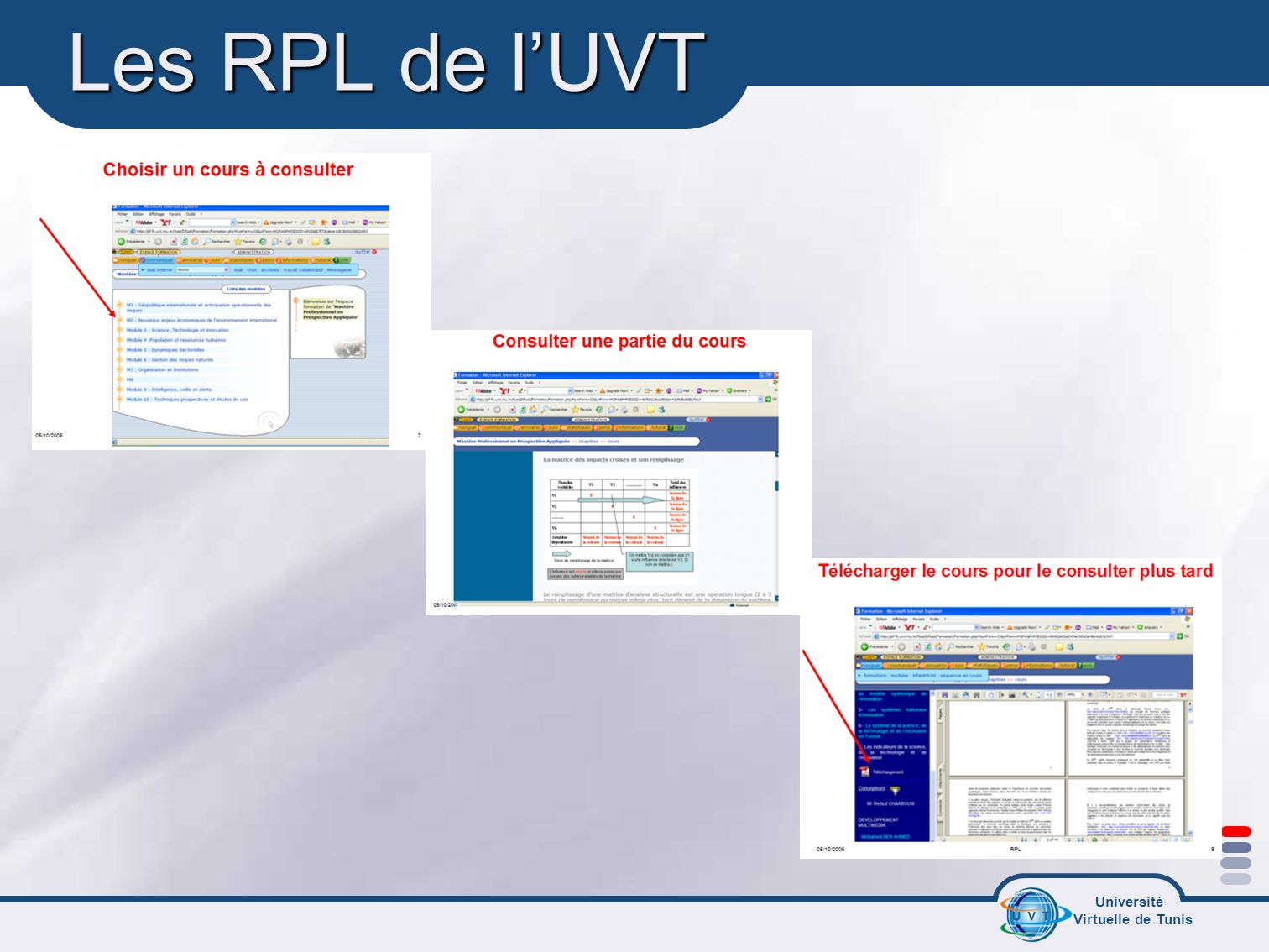Université Virtuelle de Tunis Les RPL de lUVT