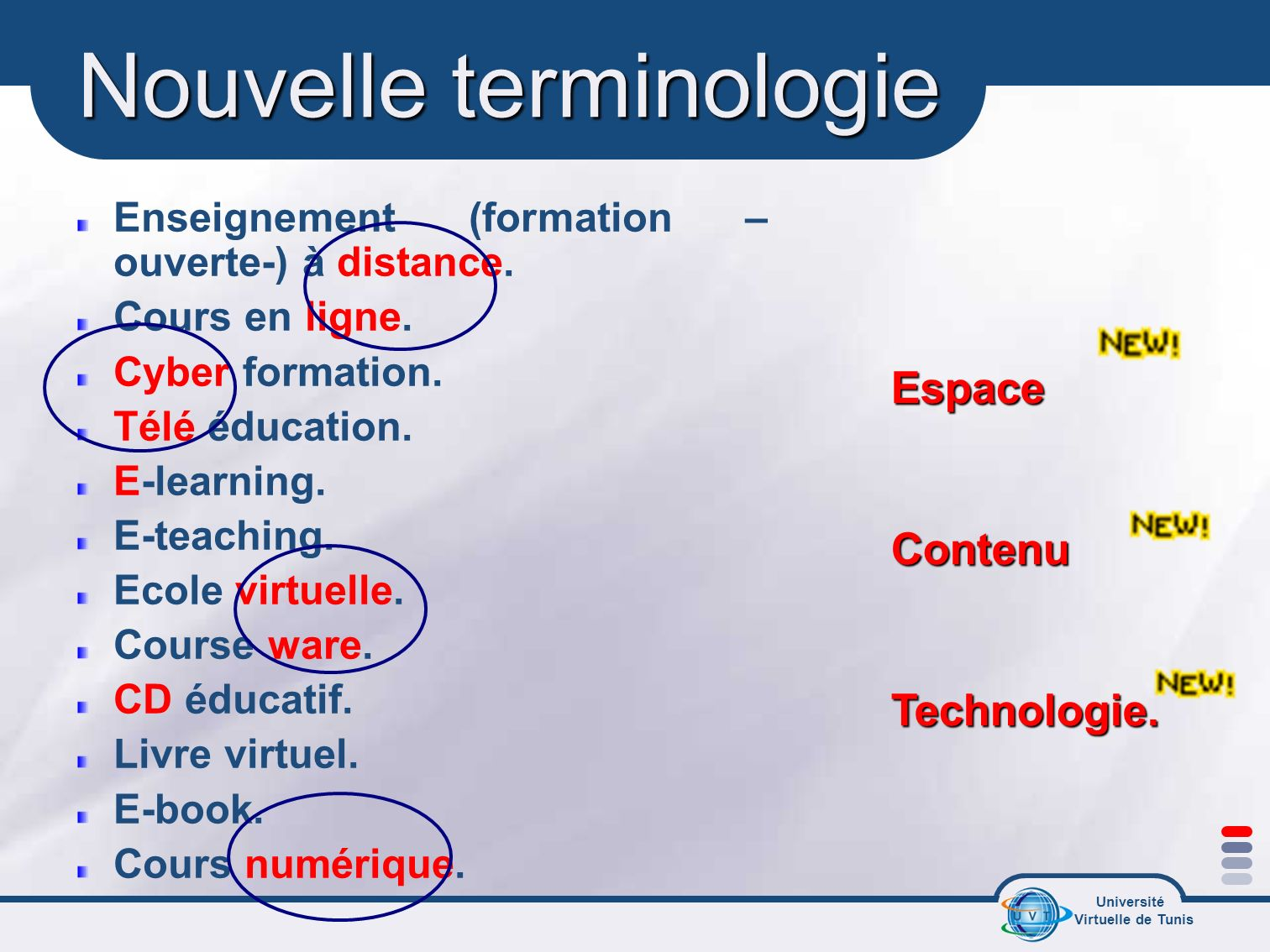 Université Virtuelle de Tunis Nouvelle terminologie Enseignement (formation – ouverte-) à distance. Cours en ligne. Cyber formation. Télé éducation. E