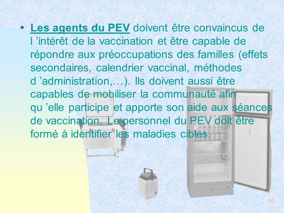 10 ŸLes agents du PEV doivent être convaincus de l intérêt de la vaccination et être capable de répondre aux préoccupations des familles (effets secon