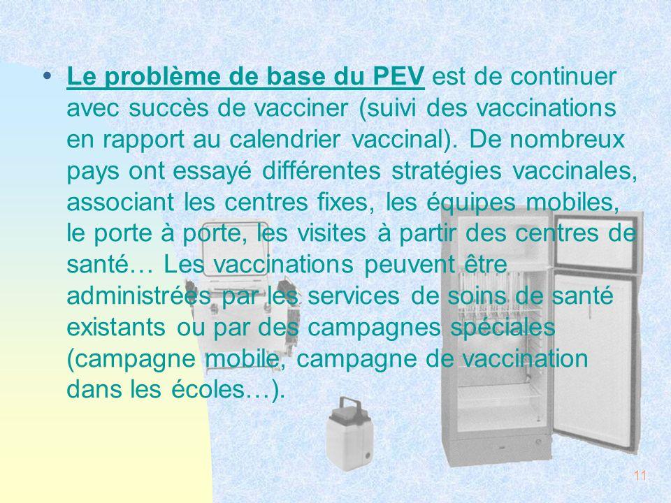 11 ŸLe problème de base du PEV est de continuer avec succès de vacciner (suivi des vaccinations en rapport au calendrier vaccinal). De nombreux pays o