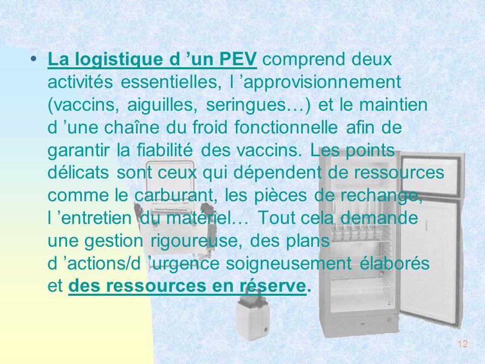 12 ŸLa logistique d un PEV comprend deux activités essentielles, l approvisionnement (vaccins, aiguilles, seringues…) et le maintien d une chaîne du f