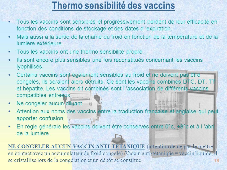 16 Thermo sensibilité des vaccins ŸTous les vaccins sont sensibles et progressivement perdent de leur efficacité en fonction des conditions de stockag