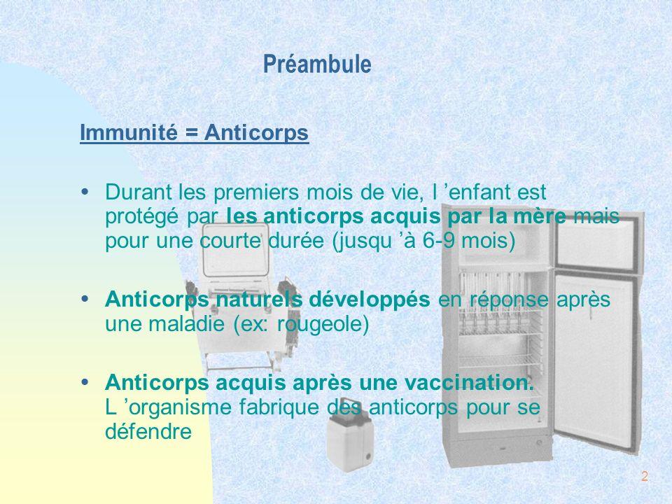 2 Préambule Immunité = Anticorps ŸDurant les premiers mois de vie, l enfant est protégé par les anticorps acquis par la mère mais pour une courte duré