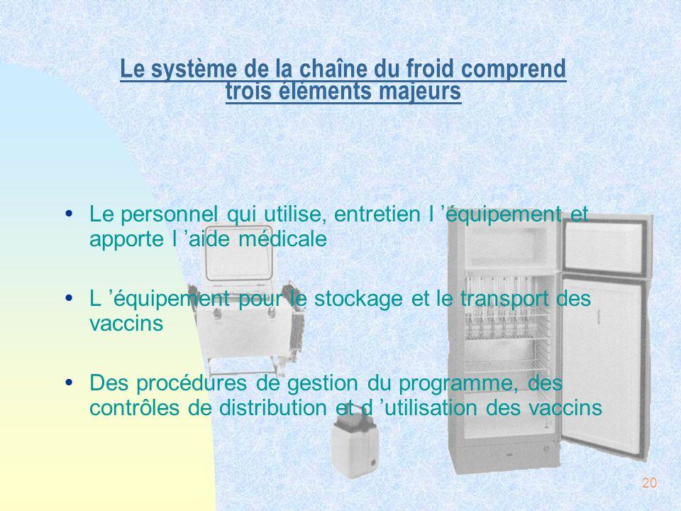 20 Le système de la chaîne du froid comprend trois éléments majeurs ŸLe personnel qui utilise, entretien l équipement et apporte l aide médicale ŸL éq