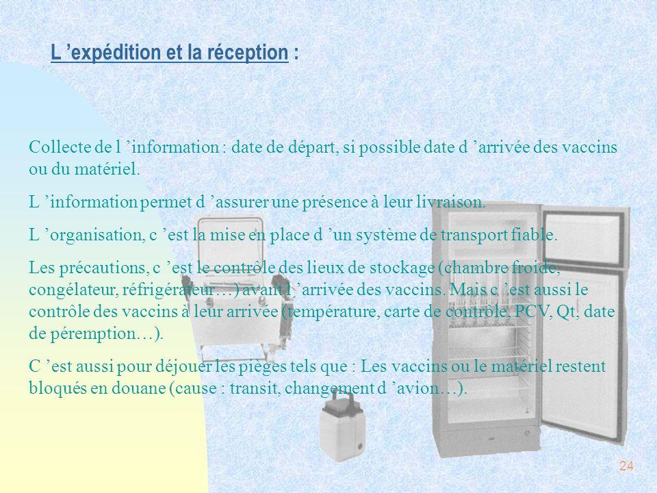 24 L expédition et la réception : Collecte de l information : date de départ, si possible date d arrivée des vaccins ou du matériel. L information per