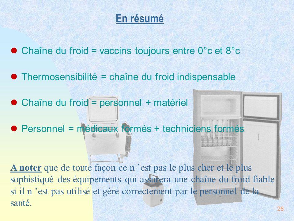26 En résumé lChaîne du froid = vaccins toujours entre 0°c et 8°c lThermosensibilité = chaîne du froid indispensable lChaîne du froid = personnel + ma