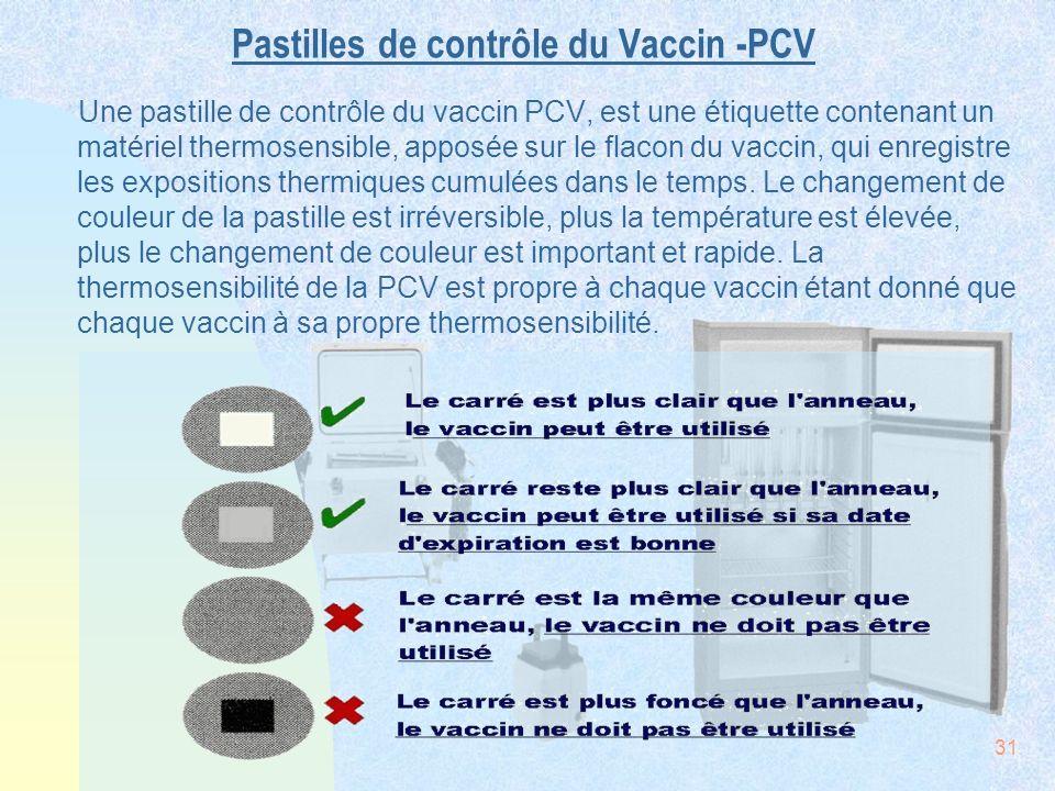 31 Pastilles de contrôle du Vaccin -PCV Une pastille de contrôle du vaccin PCV, est une étiquette contenant un matériel thermosensible, apposée sur le