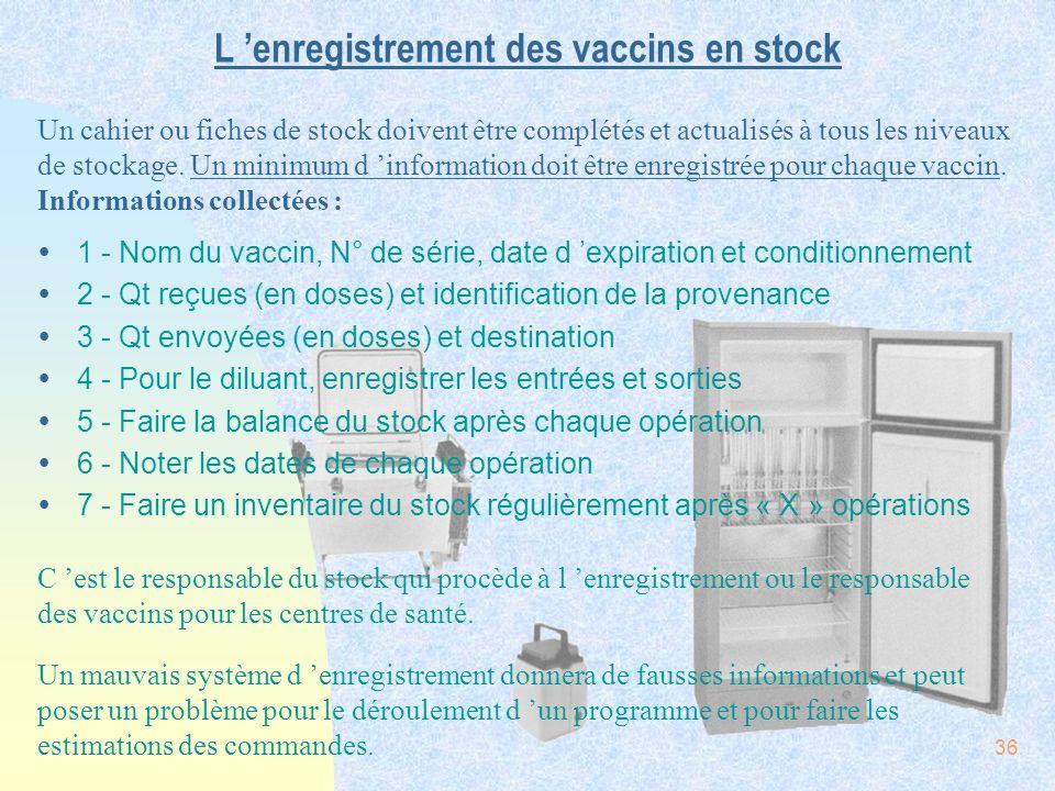 36 L enregistrement des vaccins en stock Ÿ1 - Nom du vaccin, N° de série, date d expiration et conditionnement Ÿ2 - Qt reçues (en doses) et identifica