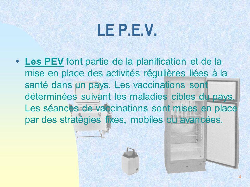 4 LE P.E.V. ŸLes PEV font partie de la planification et de la mise en place des activités régulières liées à la santé dans un pays. Les vaccinations s