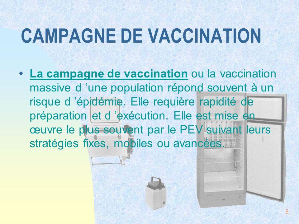 5 CAMPAGNE DE VACCINATION ŸLa campagne de vaccination ou la vaccination massive d une population répond souvent à un risque d épidémie. Elle requière