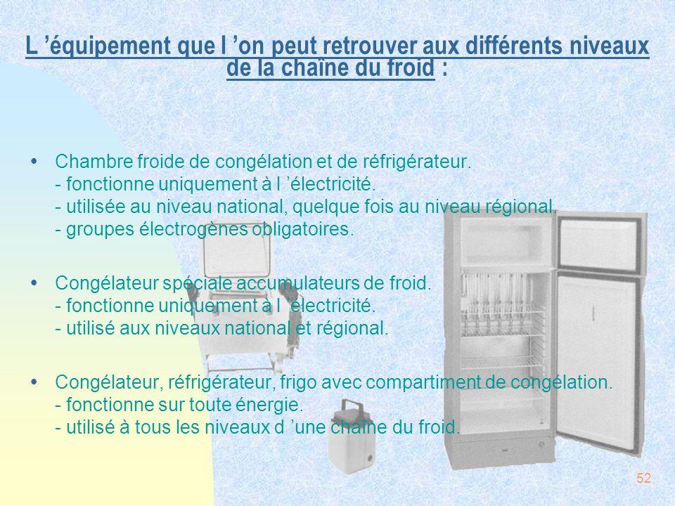52 L équipement que l on peut retrouver aux différents niveaux de la chaîne du froid : ŸChambre froide de congélation et de réfrigérateur. - fonctionn