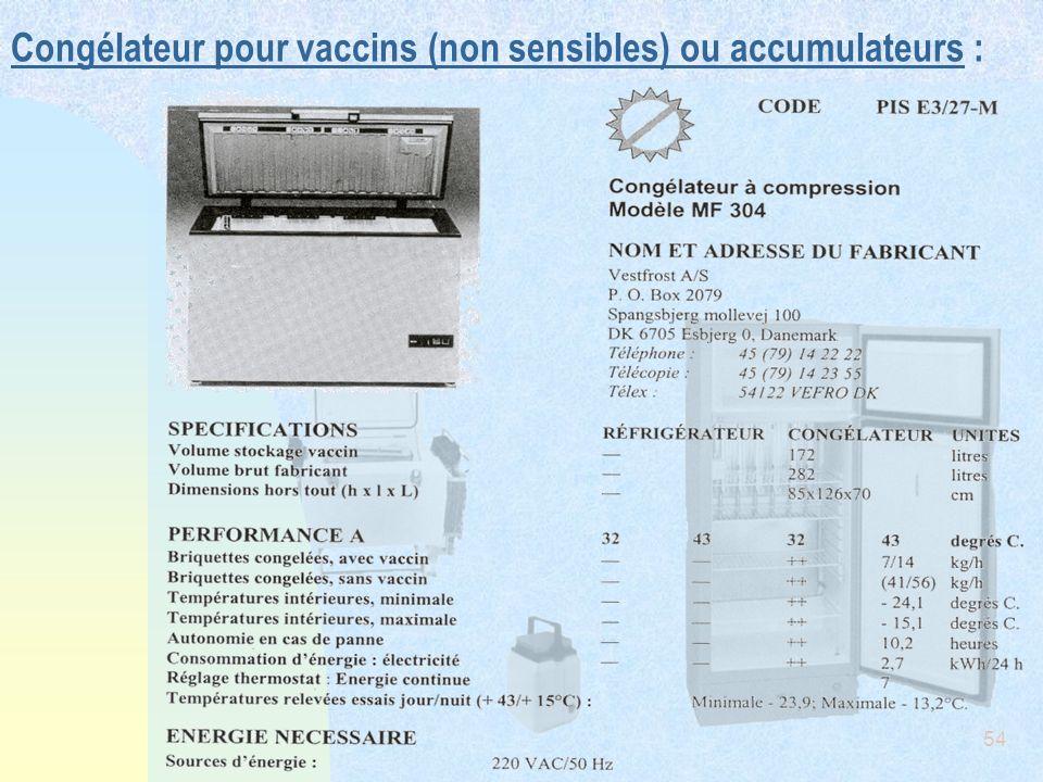 54 Congélateur pour vaccins (non sensibles) ou accumulateurs :