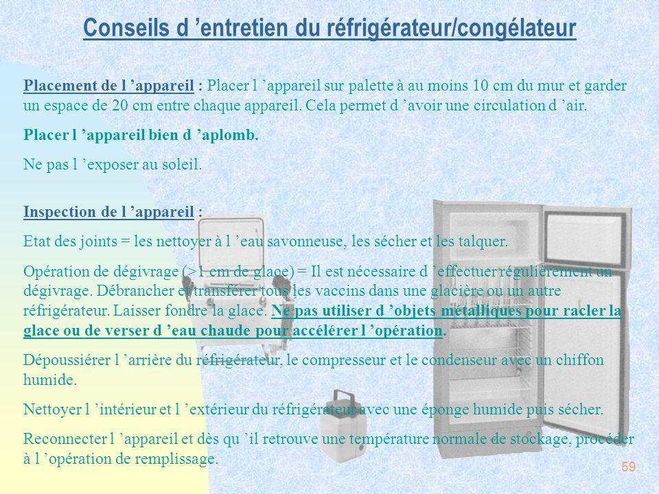 59 Conseils d entretien du réfrigérateur/congélateur Placement de l appareil : Placer l appareil sur palette à au moins 10 cm du mur et garder un espa