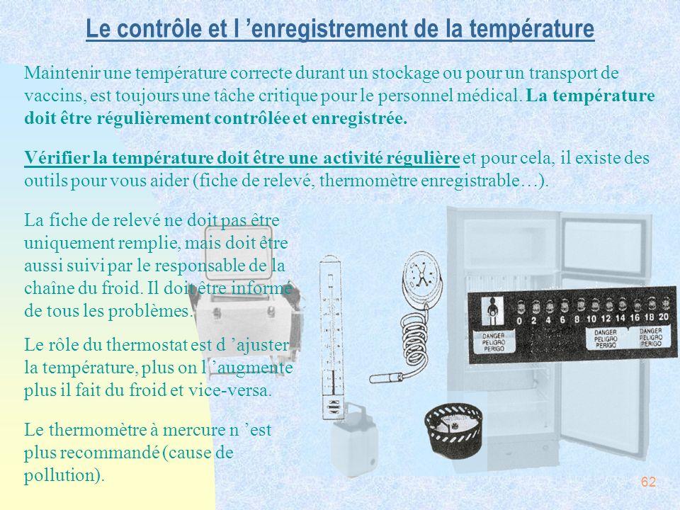 62 Le contrôle et l enregistrement de la température Maintenir une température correcte durant un stockage ou pour un transport de vaccins, est toujou