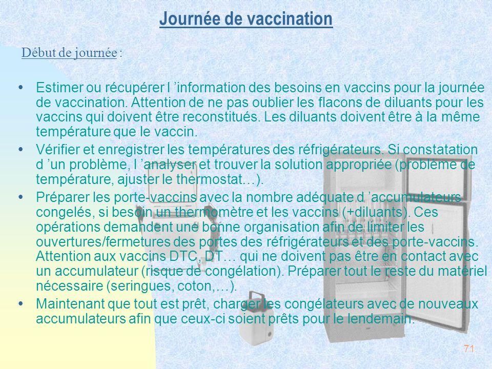 71 Journée de vaccination ŸEstimer ou récupérer l information des besoins en vaccins pour la journée de vaccination. Attention de ne pas oublier les f