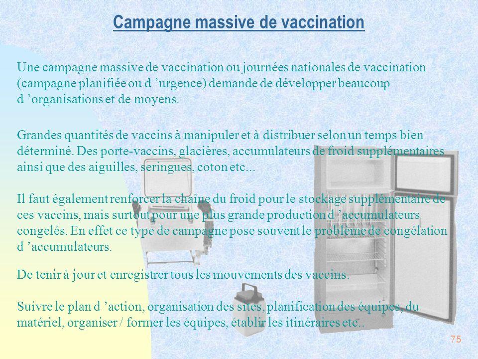 75 Campagne massive de vaccination Une campagne massive de vaccination ou journées nationales de vaccination (campagne planifiée ou d urgence) demande