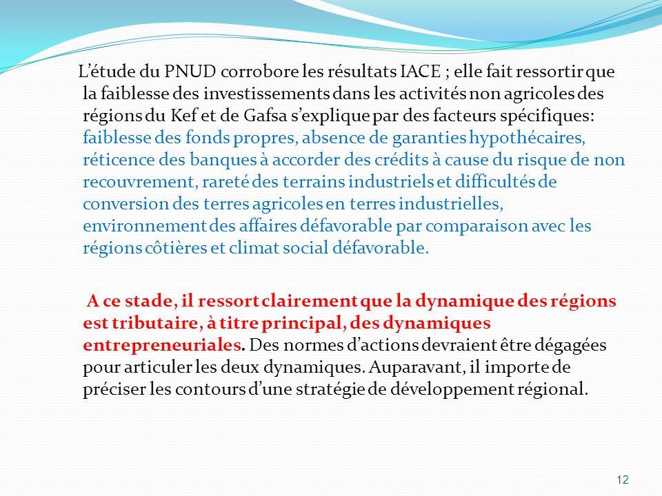Létude du PNUD corrobore les résultats IACE ; elle fait ressortir que la faiblesse des investissements dans les activités non agricoles des régions du