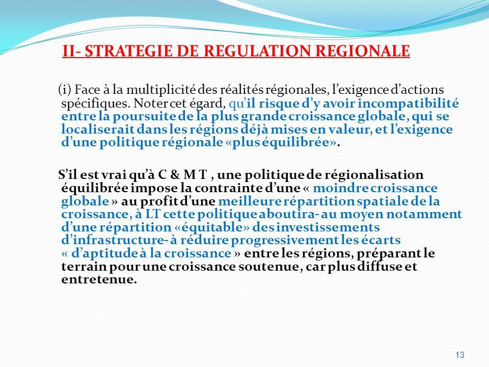 II- STRATEGIE DE REGULATION REGIONALE (i) Face à la multiplicité des réalités régionales, lexigence dactions spécifiques. Noter cet égard, quil risque