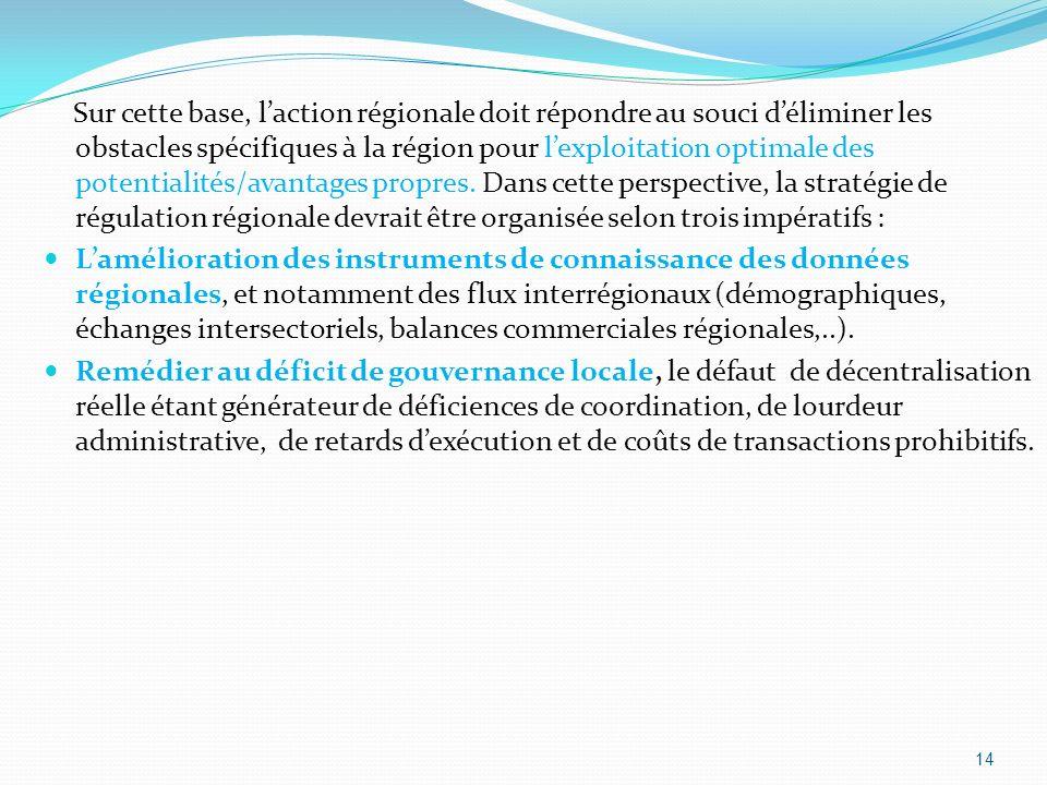 Sur cette base, laction régionale doit répondre au souci déliminer les obstacles spécifiques à la région pour lexploitation optimale des potentialités