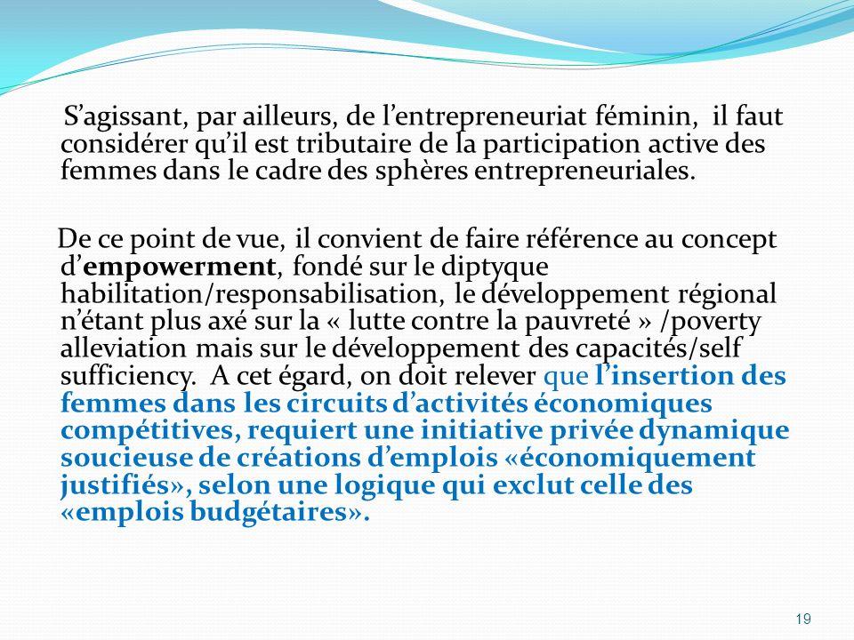 Sagissant, par ailleurs, de lentrepreneuriat féminin, il faut considérer quil est tributaire de la participation active des femmes dans le cadre des s