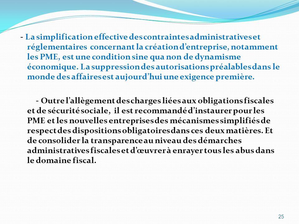 - La simplification effective des contraintes administratives et réglementaires concernant la création dentreprise, notamment les PME, est une conditi