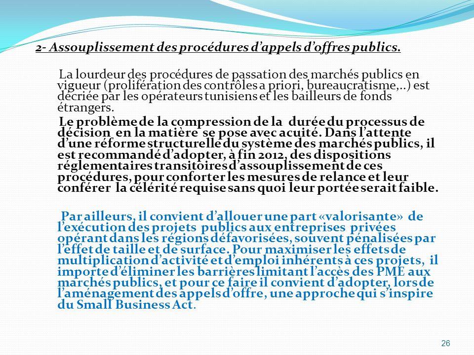 2- Assouplissement des procédures dappels doffres publics. La lourdeur des procédures de passation des marchés publics en vigueur (prolifération des c