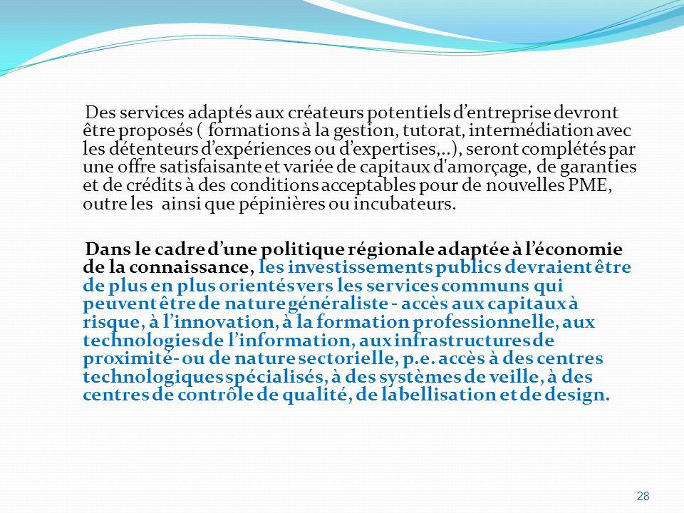 Des services adaptés aux créateurs potentiels dentreprise devront être proposés ( formations à la gestion, tutorat, intermédiation avec les détenteurs
