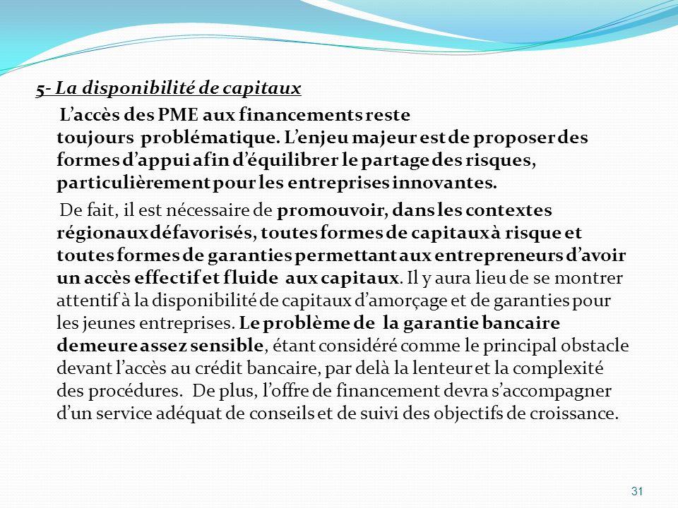 5- La disponibilité de capitaux Laccès des PME aux financements reste toujours problématique. Lenjeu majeur est de proposer des formes dappui afin déq