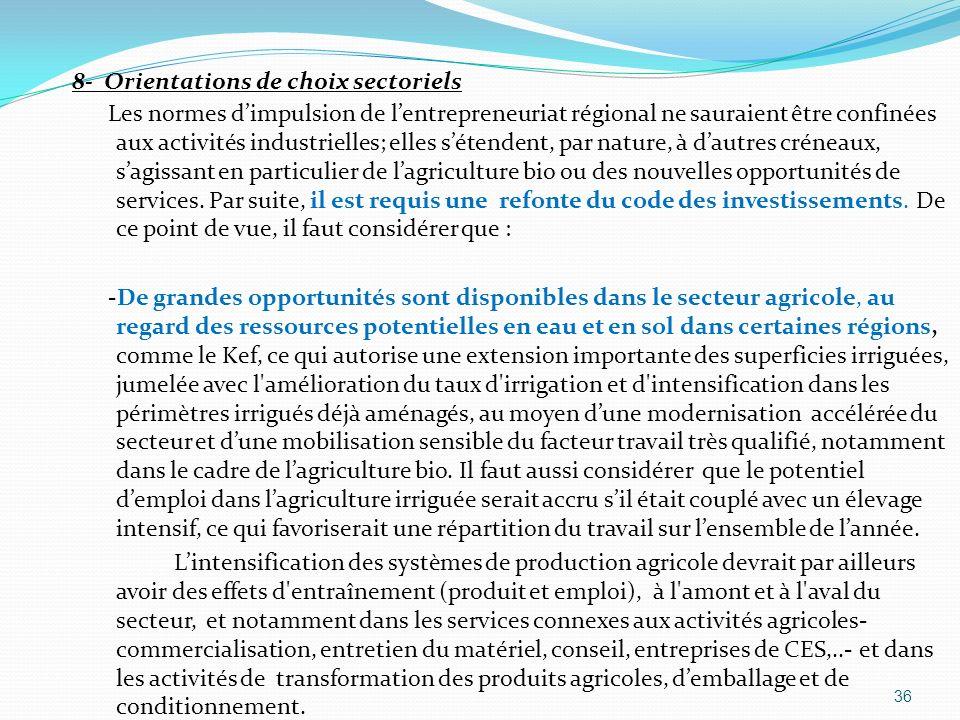 8- Orientations de choix sectoriels Les normes dimpulsion de lentrepreneuriat régional ne sauraient être confinées aux activités industrielles; elles
