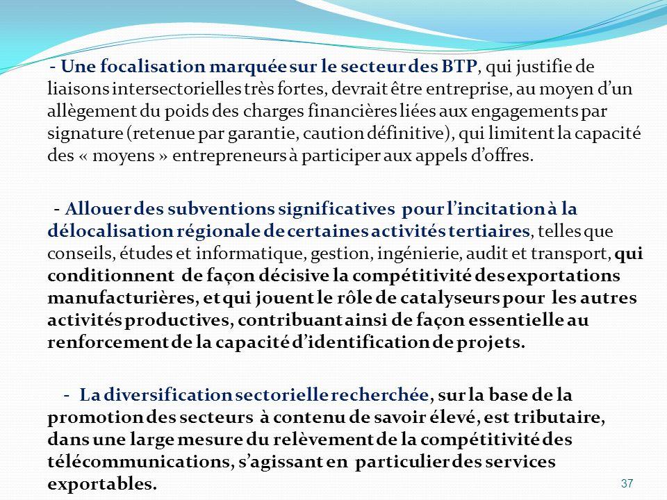 - Une focalisation marquée sur le secteur des BTP, qui justifie de liaisons intersectorielles très fortes, devrait être entreprise, au moyen dun allèg