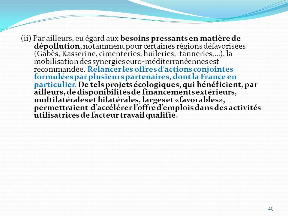 (ii) Par ailleurs, eu égard aux besoins pressants en matière de dépollution, notamment pour certaines régions défavorisées (Gabès, Kasserine, cimenter