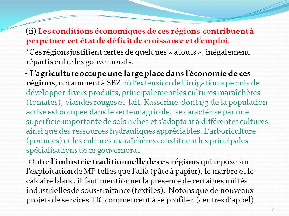 (ii) Les conditions économiques de ces régions contribuent à perpétuer cet état de déficit de croissance et demploi. *Ces régions justifient certes de