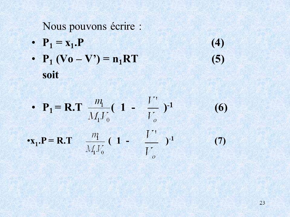 23 Nous pouvons écrire : P 1 = x 1.P (4) P 1 (Vo – V) = n 1 RT (5) soit P 1 = R.T ( 1 - ) -1 (6) x 1.P = R.T ( 1 - ) -1 (7)