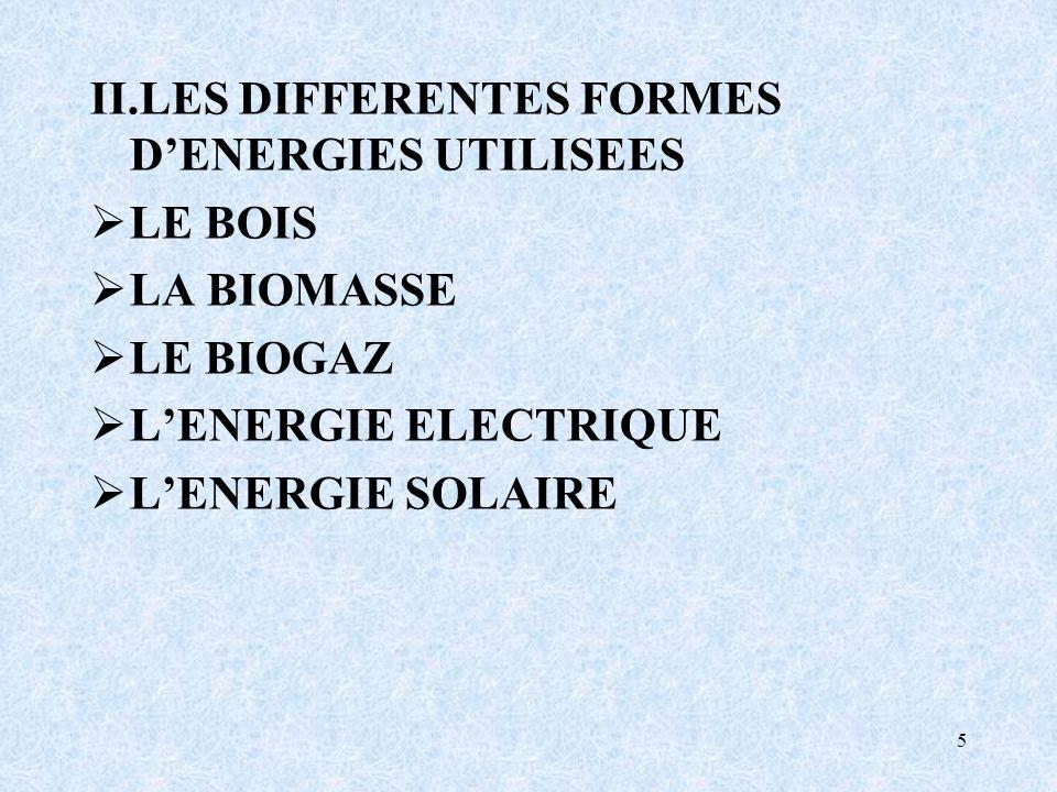 5 II.LES DIFFERENTES FORMES DENERGIES UTILISEES LE BOIS LA BIOMASSE LE BIOGAZ LENERGIE ELECTRIQUE LENERGIE SOLAIRE