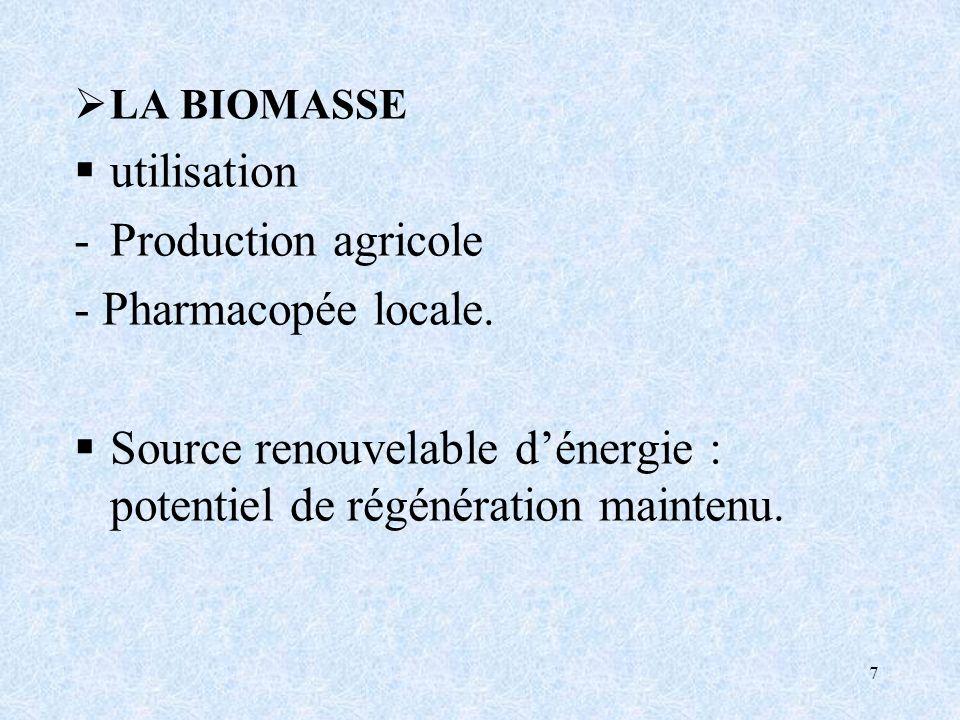 7 LA BIOMASSE utilisation -Production agricole - Pharmacopée locale.