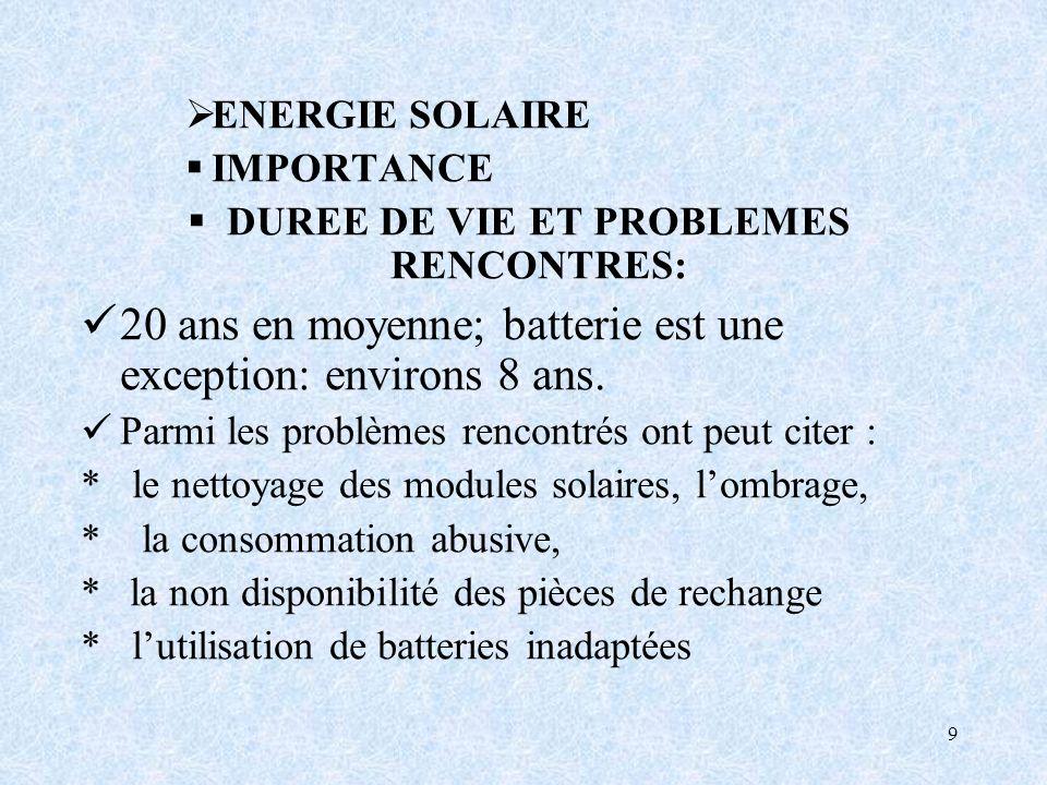 9 ENERGIE SOLAIRE IMPORTANCE DUREE DE VIE ET PROBLEMES RENCONTRES: 20 ans en moyenne; batterie est une exception: environs 8 ans.