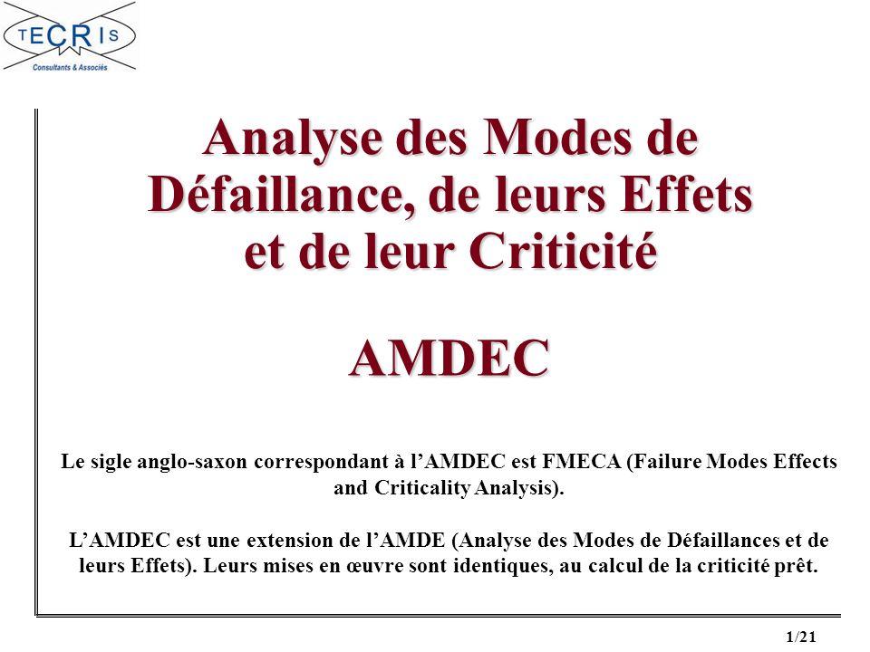 1/21 Analyse des Modes de Défaillance, de leurs Effets et de leur Criticité AMDEC Le sigle anglo-saxon correspondant à lAMDEC est FMECA (Failure Modes Effects and Criticality Analysis).