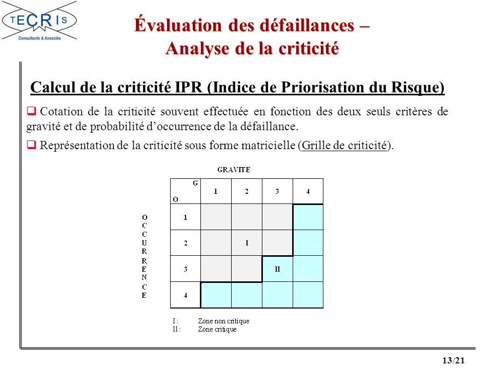 13/21 Évaluation des défaillances – Analyse de la criticité Cotation de la criticité souvent effectuée en fonction des deux seuls critères de gravité et de probabilité doccurrence de la défaillance.