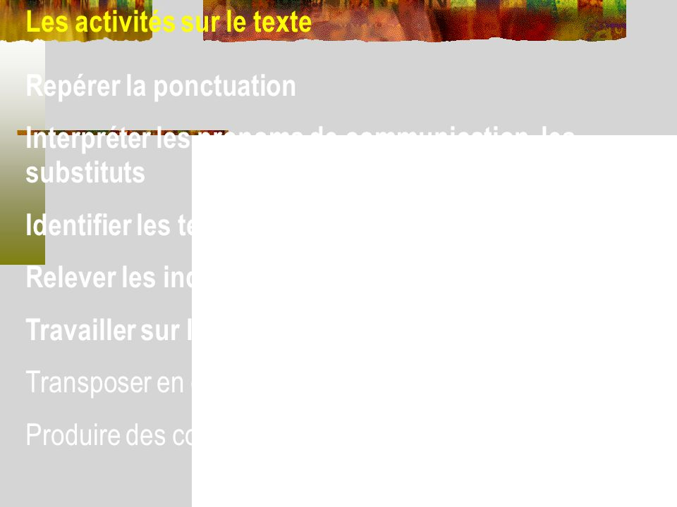 Les activités sur le texte Repérer la ponctuation Interpréter les pronoms de communication, les substituts Identifier les temps employés Relever les i