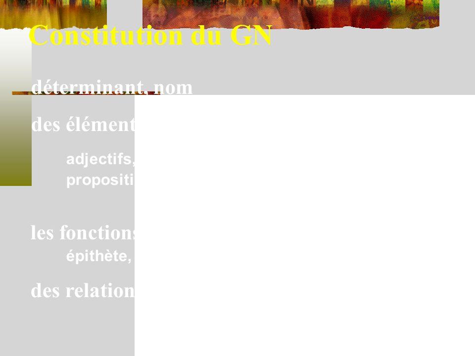 Constitution du GN déterminant, nom des éléments qui sajoutent éventuellement : adjectifs, groupes nominaux, propositions relatives les fonctions dans le GN épithète, complément de nom des relations orthographiques entre les mots