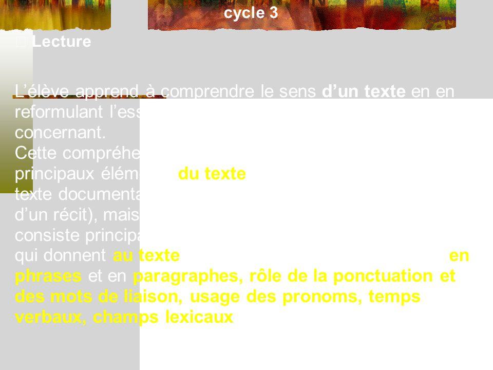 cycle 3 Lecture Lélève apprend à comprendre le sens dun texte en en reformulant lessentiel et en répondant à des questions le concernant.