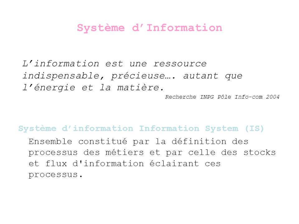 Système dInformation Système dinformation Information System (IS) Il convient d éviter la confusion fréquente entre système d information et système informatique: le système informatique ne représente que la partie automatisée du système d information; ses composants sont de nature technique: matériels, logiciels et infrastructure réseau.
