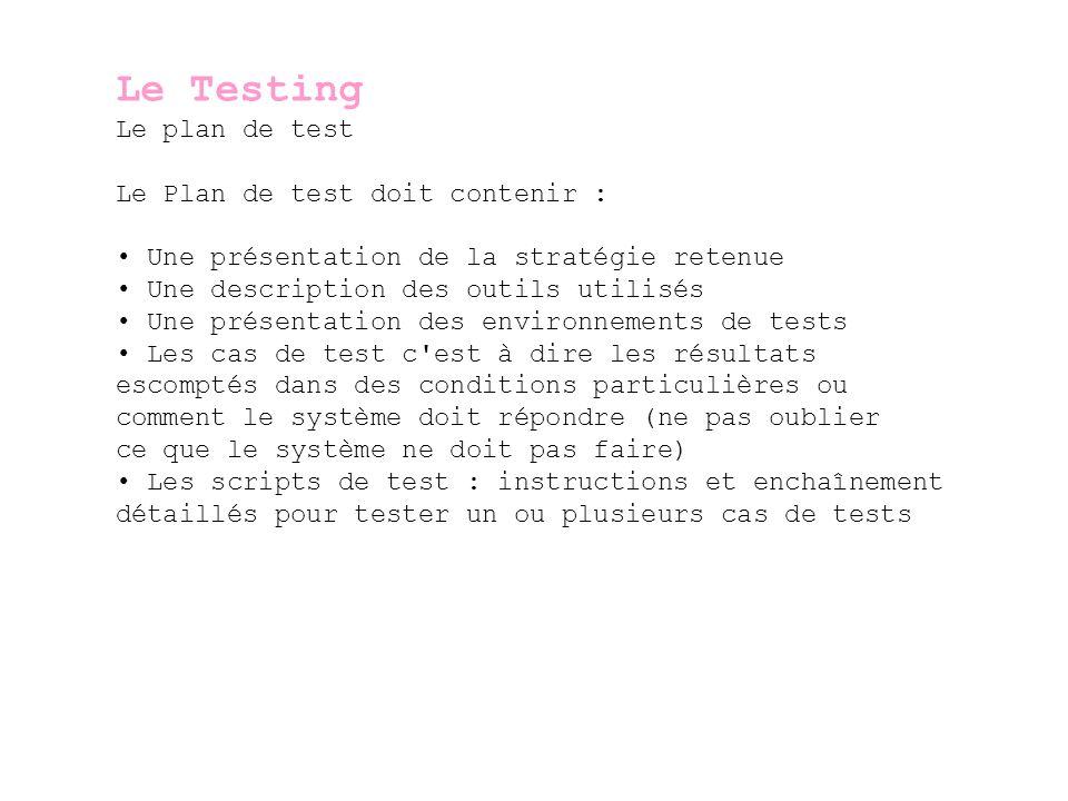 Le Testing Les différents types de test Tests unitaires Ce sont les tests du programme lui-même (Debuggage) – ils sont réalisés par les développeurs Tests d intégration Ce sont les tests du programme dans son environnement.