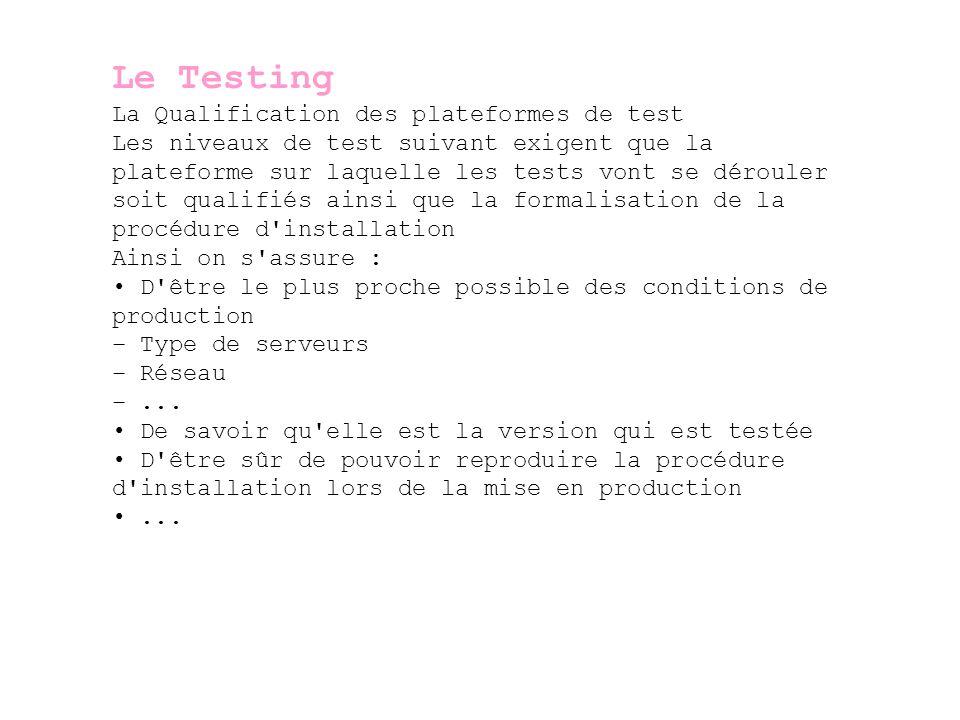 Le Testing Les différents types de test (suite) Tests de système Les Tests de système permettent de démontrer que le système dans son ensemble répond aux spécifications -> coté informatique Tests d acceptation (ou recette) Les Tests d acceptation permettent de démontrer que le système dans son ensemble répond aux spécifications -> coté utilisateurs