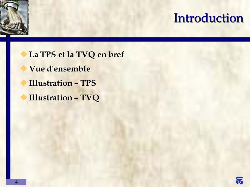 5 Introduction La TPS et la TVQ en bref Fourniture taxable de biens7 %7,5 % (1) meubles corporels, de biens meubles incorporels, d immeubles et de services Remboursement de la taxeTPS réellementTVQ réellement payée oupayée ou payable (7 %)payable 7,5 % (1), sauf certaines restrictions Date d entrée en vigueur1 er janvier 19911 er juillet 1992 TPSTVQ (1) 6,5 % avant le 1 er janvier 1998.