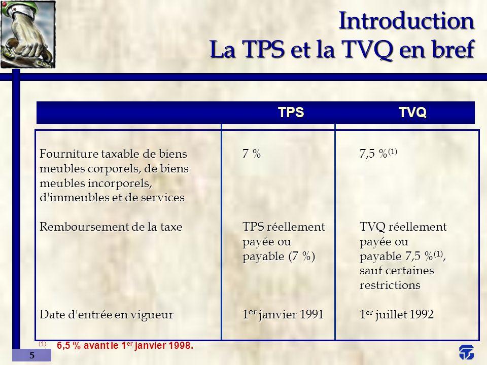6 Introduction Vue d ensemble du fonctionnement = Ventes taxables Taux de taxe (-) Taxe sur ventes X Taxe à payer (si résultat positif) ou Remboursement (si résultat négatif) = Taxe sur achats (CTI/RTI)